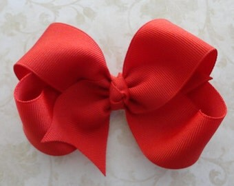 Red Twisted Boutique Bow - Girls Grosgrain 4 inch Bow - Baby Hairbow - Girls Hairbow
