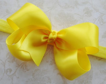 Bright Yellow Satin Twisted Boutique Bow Headband - Baby Headband - Girls Headband - Photo Prop