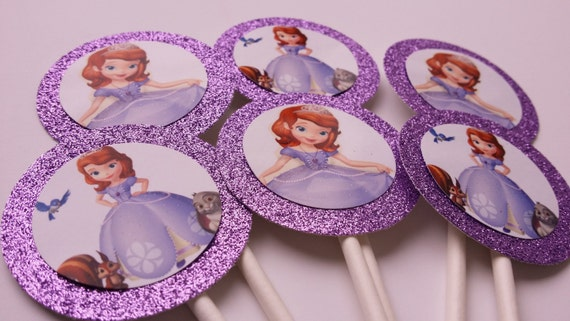 Set of 36 Cupcake Toppers Glitter Sophia the First Birthday Party Decor