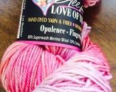 Yarn Fingering Opulence Sock Hand Dyed Merino Cashmere Nylon, 014 Dawn Pink, All for Love of Yarn