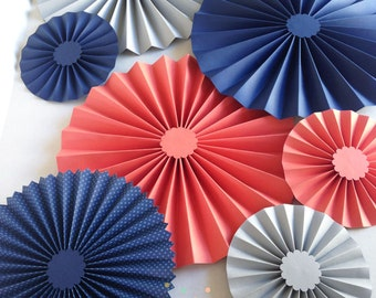 8 pc Navy, Coral & Gray Rosettes | Navy Paper Fans | Pinwheel Backdrop Decor | Coral Paper Rosettes| Candy Buffet Decor | Nautical Wedding