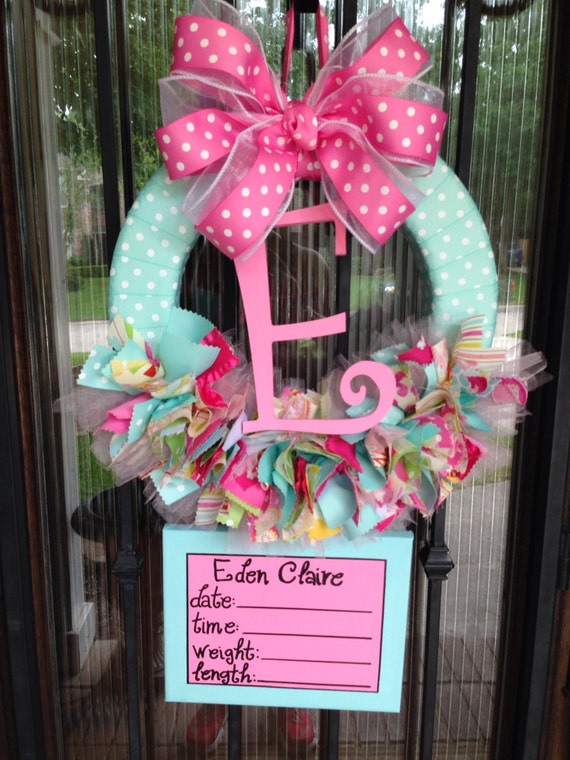 Baby ribbon wreath nursery hospital door kumari garden w for Baby shower door decoration