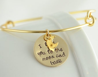Personalized I Love You To The Moon And Back - Gold Bangle Bracelet With Name, Mothers Gift - Mom Gift - Grandma Gift - Hand Stamped Jewelry