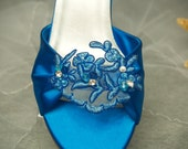 Wedding Shoes Turquoise Deep Blue or other colors - Mid heel blue shoes bride, open toe, closed ankle, something blue wedding shoe, lace