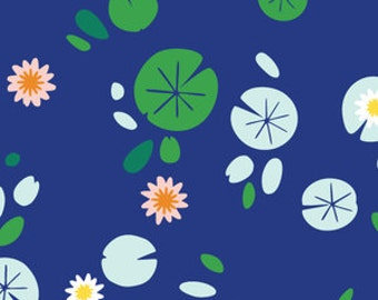Lily Pond in Navy Blue - Lotus Pond - Made by Rae for Cloud 9 Organic Cotton Fabrics - 1/2 yard, Additional Available