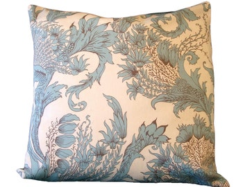 SOFT TEAL FLORAL Pillow Cover  Home Decor 18 inch x 18 inch  Set of two