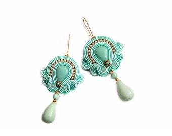 Soutache spring amazonite statement earrings - elegant, classy and unusual - AMAZONITE DREAM