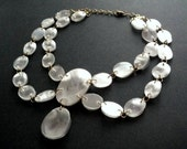 Statement necklace made of recycled plastic bottles upcycled jewelry victorian necklace in white & gold