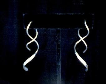 Sterling Silver, Gold Filled, Niobium Medium Length Corkscrew, Swirl, Twisted Wire, Drop Earrings