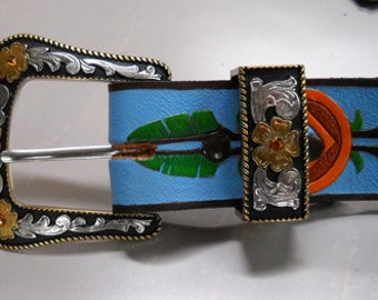 Painted Leather Belt with Amber Canyon Buckle Set