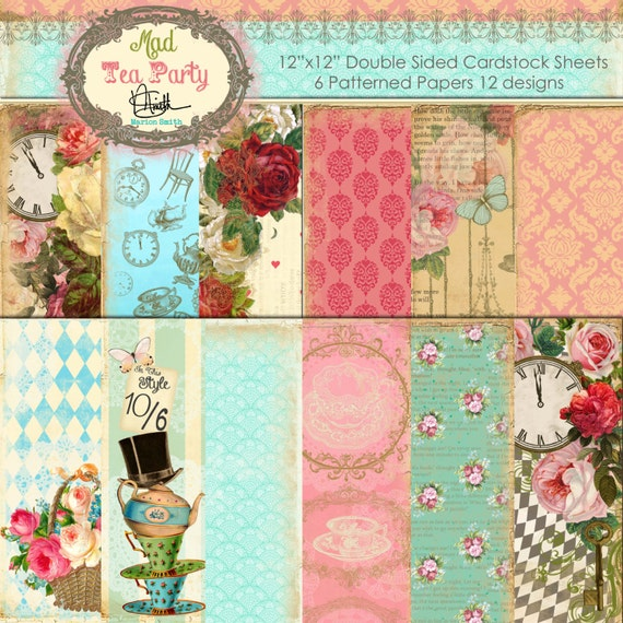 Marion Smith Designs - Mad Tea Party - 12x12 Paper Collection Plus 2 Sheets of Cut & Create Ephemera