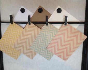 Note Cards - Set of 4 - Flat or Folded - Kraft Chevron Pattern Assorted - Yellow, Brown Kraft, Pink, Blue