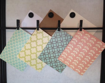 Note Cards - Set of 4 - Flat or Folded - Contempary Patterns Assorted - Lime Gree, Aqua, Brown, Coral