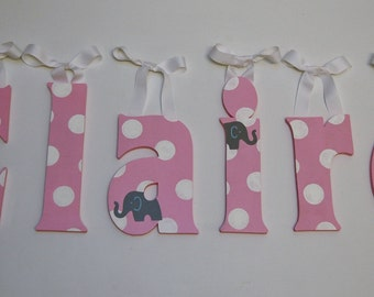 Custom Hand Painted Nursery Letters - Gray Elephants