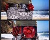 Red rose and leather leaf pocket belt/ burning man belt/ belt bag / hip belt