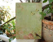 aged shabby chic,green tone,wooden sign with butterflies,bird,roses & script image-
