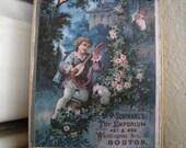 Toy Emporium,boy serenading lady,rose bushes,vintage advertising image on wood- door/dresser hanger
