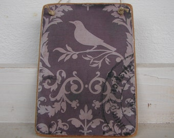 French shabby chic,bird silhouette,old wallpaper pattern,wooden tag/dresser/door hanger