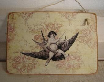 French shabby chic cherub, cupid on bird, vintage wallpaper- wooden tag/dresser/door hanger
