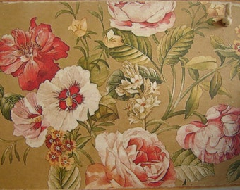 Victorian-style,grungy floral wallpaper image,applied to wooden tag/dresser/door hanger-