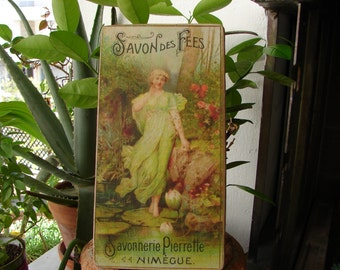 French shabby chic sign, French Victorian savon de fees fairy soap, advertsing image on wood