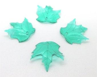 100 Emerald Green Oak Leaf Beads