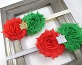 Christmas Headband - Red and Green Headband - Holiday Headband - Shabby Flower Headband - Baby Infant Toddler Child Teenager Adult Headband