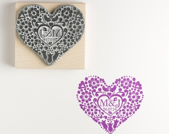 Personalised Two Birds Heart Rubber Stamp