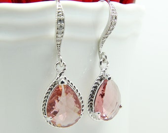 Pink Earrings Pale Pink Earrings Blush Pink Earrings Bridal Earrings Teardrop Earrings Bridesmaid Gift Wedding Earrings