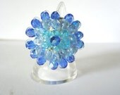 Blue Cocktail Ring Adjustable in 3 Blue Shades by JulieDeeleyJewellery on Etsy
