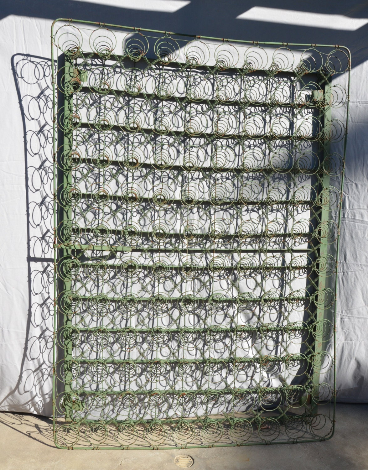 Antique Iron Bed Frame With Springs : Vintage antique s industrial green metal coil springs