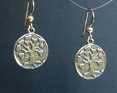Love Tree Earrings: Natural Bronze Dangles on GoldFilled Earwires
