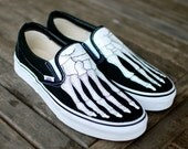 Hand Painted Skeleton Boney Feet Slip On Vans shoes