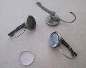10 set antique bronze (copper) ear hooks base with glass 12mm