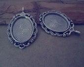 5 pcs 18mmx25mm Antique silver Oval shape Pendant Base