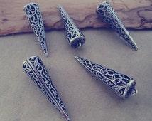 4pcs Antique silver Hollow out cone (copper ) pendant charm 10mmx40mm