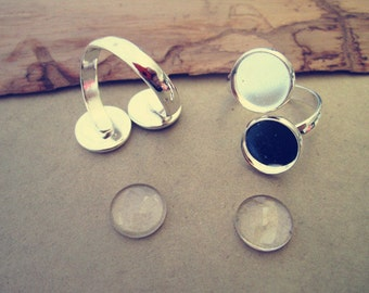 4 Set  silver color 12mm copper ring bases with giass combination
