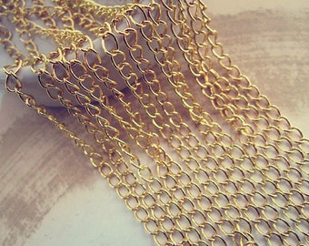 6.5ft (2m) Gold color necklace chain 4mm
