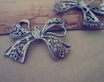 4pcs  Antique silver bowknot  Charm pendant 35mmx42mm