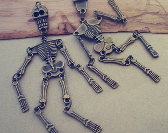 6pcs Antique bronze  Skeleton charm pendant  22mmx99mm