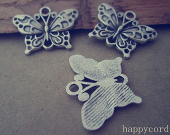 16pcs Antique Silver butterfly Charms pendant  17mmx25mm