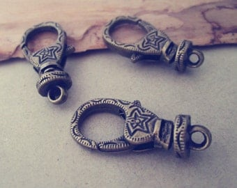 10pcs antique bronze lobster Clasps With Flower Pattern  14mmx30mm