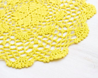 Fluorescent Yellow hand dyed Crochet Doily Vintage doily