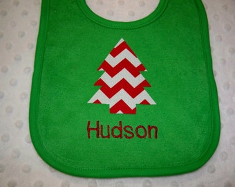 Personalized Chevron Red & Green Christmas Bib Embroidered with Name - Baby Christmas Bib - Baby Boy or Baby Girl Christmas Bib Monogrammed