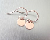 Minimalist Tiny Rose Gold Disc Earrings - Simple Dainty Dots