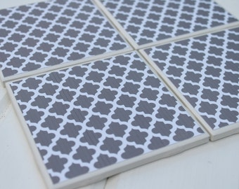 Grey Moroccan Four Piece Ceramic Tile Coaster Set