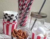 Black & Red Stripe Small Baking Cups or Straw Assortment