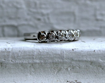 Classic Vintage 14K White Gold Diamond Wedding Band - 0.70ct.