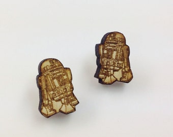 R2D2 Earrings  Laser Cut Jewelry   Hypoallergenic Studs   Wood Earrings