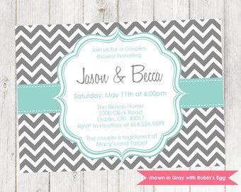 Couples Shower Invitation - Printable Shower Themed Chevron Invite - Colors and Text Customizable